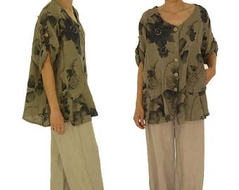 HN800TP48 linen tunic blouse blouses jacket 42 44 46 48 taupe