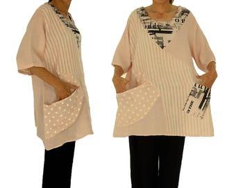 IA500RA ladies blouse linen tunic oversize linen patchwork plus size pink GR, 46 48 50