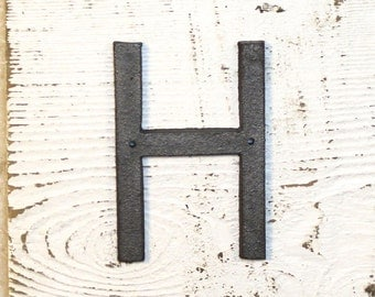 H - 5 Inch Cast Iron Metal Letter H- WITH DRILL HOLES for Mounting