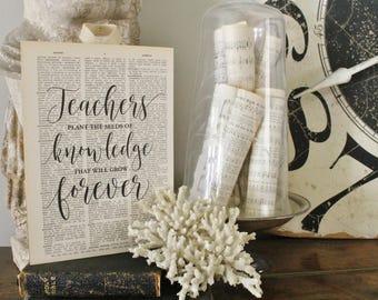 TEACHERS Plant The Seeds of Knowledge Wood Sign Vintage Dictionary Art Print Farmhouse Decor Teacher Gift Graduation  Fixer Upper Decor