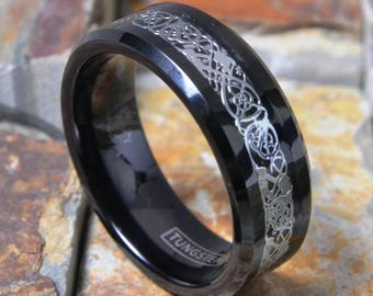 Tungsten 8mm Celtic Dragon Ring Black & Silver Comfort Fit Personalized Wedding Band - Engagement Ring Promise Ring FREE ENGRAVING AZ153