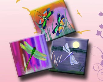 """DRAGONFLIES -  Digital Collage Sheet 1.5"""" inch square images for pendants, earrings, decoupage, magnets etc. Instant Download #247."""