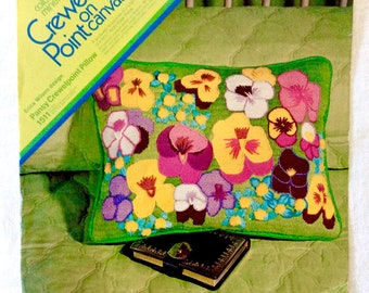 Erica Wilson Needlepoint Kit Pansy Pillow Cover 1972 Stains