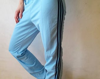 Blue ADIDAS workout pants, 80s 90s windbreaker pants, hiphop style, tracksuit trousers, running pants, jogging suit, gym pants, S/XS