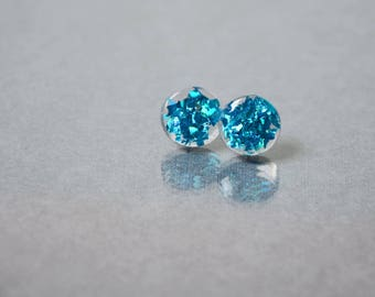 small resin stud earrings boho blue earrings gift for mom sparkly studs minimal earrings Birthday gifts fashion earrings
