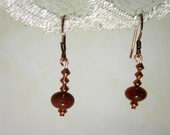 Aventurine and Copper Earrings