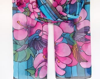 Silk scarf Hummingbird - Stained Glass scarf - Colibri scarves - hand painted silk - hummingbird art scarf - pink hibiscus scarf bird scarf