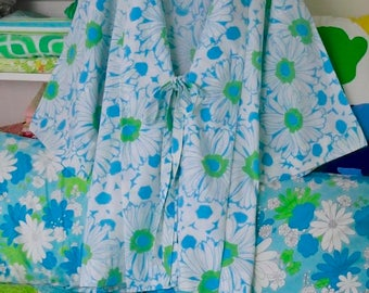 Happiness Kimono Robe, Plus Size Clothing, Upcycled Pajamas, Vintage Sheet, Blue White Green, Flower Power, Gerber Daisies, Hospital Gown