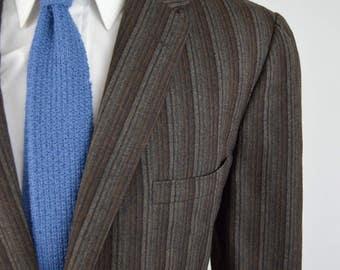 Vintage 50s/60s Brown Striped 3 Roll 2 Blazer by Hart Schaffner Marx Size 42L