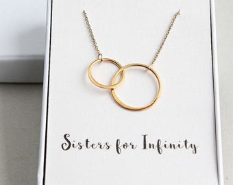 Sisters Necklace, Eternity Necklace, Two Circles Necklace, Gold Two Ring Necklace, 2 Gold Ring Necklace, Gold Necklace, Infinity Necklace