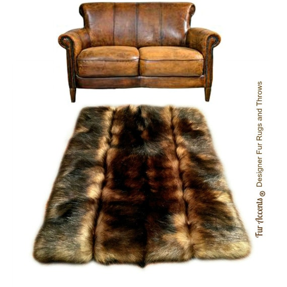Pieced Fur Area Rug Red Brown Fox Pelt Rug Premium By