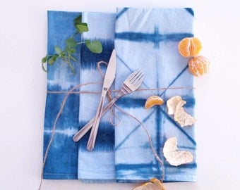 Shibori Napkins, Hand Dyed Shibori Kitchen Towels, Tea Towels, Cotton Napkins