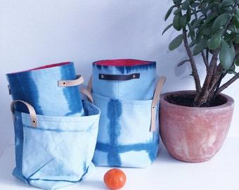 Fabric Bin | Storage Basket | Shibori | Fabric Organiser | Sewing | Knitting Bin |