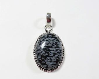 Black Gray Snowflake Obsidian Gemstone Pendant, Sterling Silver Pendant, 50x27mm, Gemstone Necklace, Black Pendant, Sterling Silver Jewelry