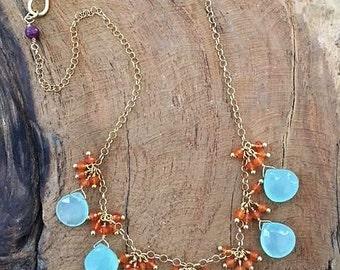 Aqua Chalcedony Necklace | Carnelian Necklace | Ruby Necklace | Gemstone Necklace | Bohemian Necklace