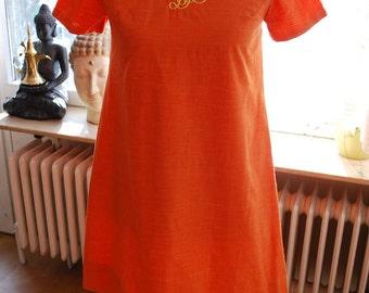 Charming Vintage Citrus A-Line Dress With Monagram