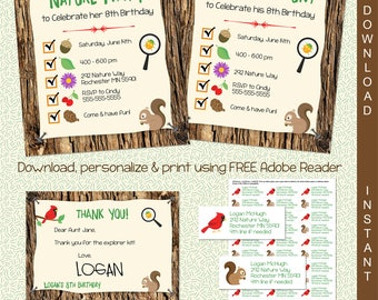 Scavenger Hunt Printable Invitation | Nature Party Invite | INSTANT DOWNLOAD & Edit in Adobe Reader | Printable Invite | Paper Craft Party