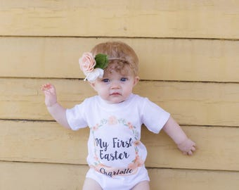 My First Easter, Baby Girl's First Easter Outfit, Floral Wreath, Boho Baby Clothes, Peach Floral Wreath, Girl's First Easter Outfit