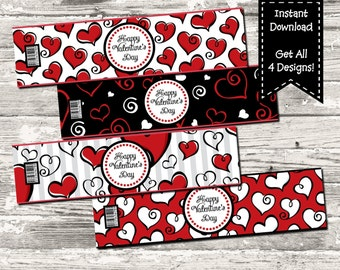Instant Download Happy Valentine's Day Hearts Water Bottle label Print Your Own Digital