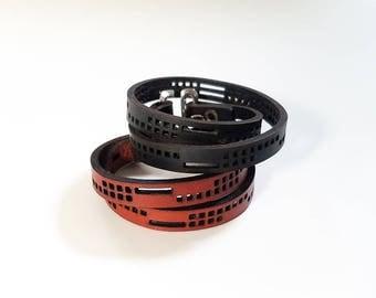 Leather Double Wrap Bracelet - squares motif