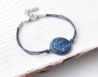 Aquarius bracelet February birthday January Aquarius horoscope Galaxy Cosmic jewelry Zodiac gift Birth sign Astrology Blue Constellation
