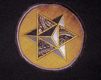 Sacred Geometry Patch Star Tetrahedron Handmade Silk Applique