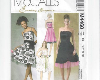 McCall's 4460 Pattern for Misses' Evening Elegance Dress, Sizes 4 to 8, 12 & 14, Brides Maid, Party, Prom, Evening Dress, Home Sew Pattern