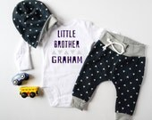 Baby Boy Coming Home Outfit, Little Brother: Personalized Little Brother Bodysuit, Navy Triangles Jogger Legging Pants, Slouchy Hat
