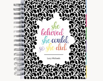 Monthly PlanBook Planner – Personalized | Monthly Calendar | Notebook | To Do List | Bound | Family | Academic | Quote Swirl