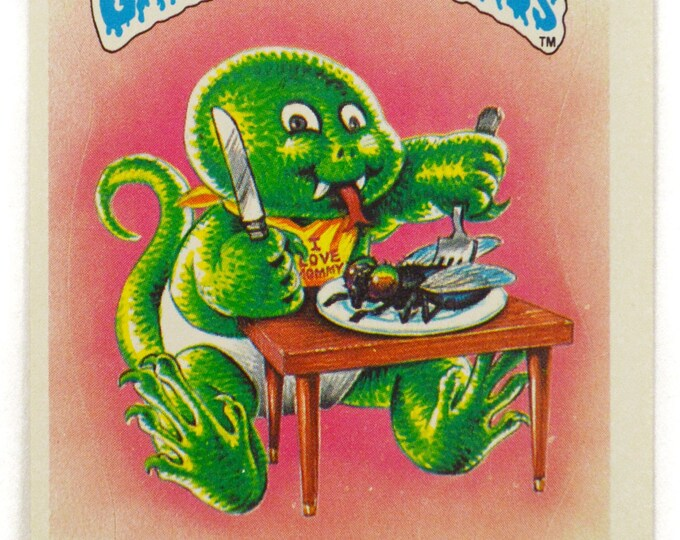 Vintage 80s Garbage Pail Kids Slimy Sam 38a Series 1 Sticker Glossy Collectible Trading Card