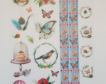 Stickersheet - Stickers - Embossed Stickers - Glitter Stickers - Butterflies - Owl - Feathers - Floral - Flowers - Bird - Blue