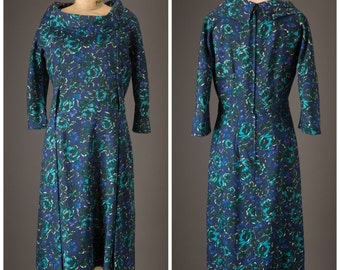Late 1950s Dark Blue and Teal Floral Print Dress