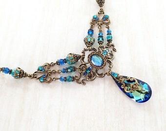 Bermuda Blue Victorian Style Multi Strand Necklace - Swarovski Crystal and Bronze Antiqued Brass - Renaissance Wedding Jewelry