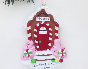 FREE SHIPPING Gingerbread Door Personalized Christmas Ornament: New Home, First House, First Apartment