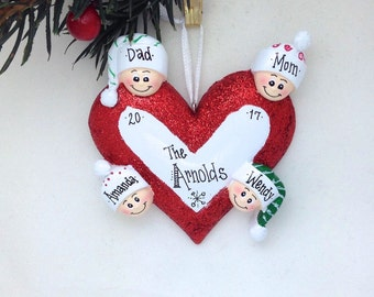 4 Happy Faces Around a Heart / Personalized Christmas Ornament for family of 4 / Custom names
