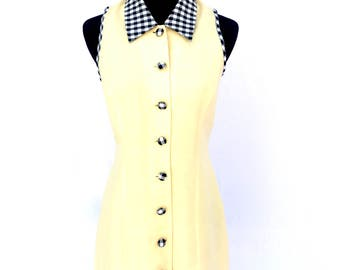 90's vintage pastel yellow gingham trimmed daisy floral spring summer shift mini dress SMALL
