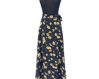 90's vintage sunflower floral black sheer chiffon high waisted maxi wrap skirt SMALL Express