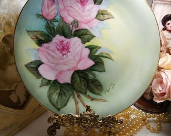 Vintage 1963 Cabinet Plate Pink Roses on Green // Signed by Artist // Bavaria