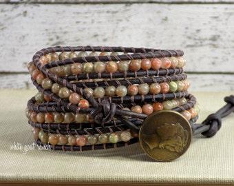 Leather Bracelet, Autumn Jasper, Stacking Bracelet, Bohemian Jewelry, Vintage Brown Leather, metal button