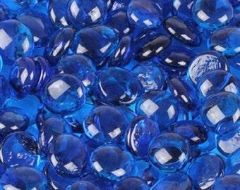 Iridescent Blue Glass Gems|Clear Blue Glass|Glass Gems|Floral Glass Stones|Blue Craft Glass|Mosaic Glass|Flat Marbles|Cabachons