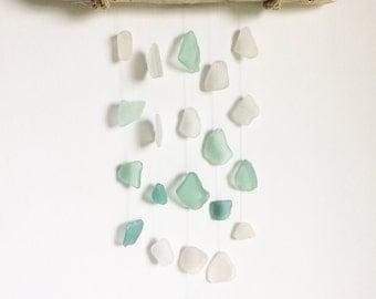Bold Seafoam Teal and Aqua Sea Glass Mobile Suncatcher, Nursery Decor, Beach Decor