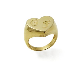 Gold monogram ring. College ring. Initial ring. Women monogram ring. Women initial band. Initial ring. Gold ring.