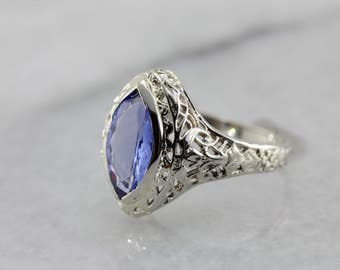 Art Deco Tanzanite Ring, White Gold Filigree Ring 662EU9-N