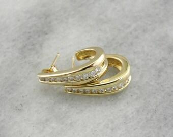 Diamond Half Hoops, Channel Set Diamond Hoops, Yellow Gold Hoop Earrings CKTRDF-N