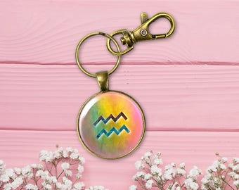 Aquarius key chain, January February Birthday gift, Colorful Keyring, Zodiac accessory, Astrological Symbol, Birth sign Key fob, KC004-11