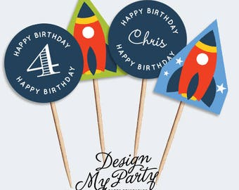 Rocket Party Cupcake Toppers (DIY Printables)