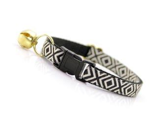 Boho Cat Collar / Tribal Cat Collar / Safety Cat Collar / Breakaway Dog Collar / Kitten Collar / Cute Cat Collar / Black Cat Collar - Ibiza