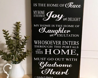 Home Quote, My Home, Gladsome Heart, Abdul-Baha, Housewarming Gift