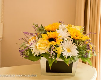 Sunflower Floral Arrangement, Floral Centerpiece, Spring and Summer Flowers