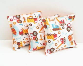 3 Construction Theme Bean Bag Toys - Washable Beanbag Toss - Kids Birthday Party Game - Orange, Trucks, Tractors, Toddler Boy Gift - Favor
